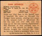 1950 Bowman #248 CR Sam Jethroe  Back Thumbnail