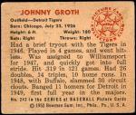 1950 Bowman #243 CR Johnny Groth  Back Thumbnail
