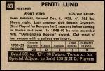 1952 Parkhurst #83  Pentti Lund  Back Thumbnail