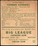 1938 Goudey Heads Up #256 / #280 Vernon Kennedy  Back Thumbnail