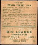 1938 Goudey Heads Up #242 / #266 Pete Fox  Back Thumbnail