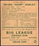 1938 Goudey Heads Up #251 / #275 Bump Hadley  Back Thumbnail