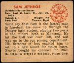 1950 Bowman #248 xCR Sam Jethroe  Back Thumbnail