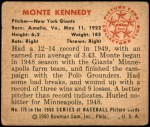 1950 Bowman #175  Monte Kennedy  Back Thumbnail