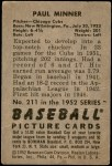 1952 Bowman #211  Paul Minner  Back Thumbnail