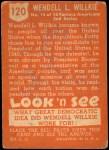 1952 Topps Look 'N See #120  Wendell L Wilkie  Back Thumbnail
