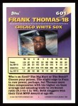 1994 Topps #601   -  Frank Thomas Measures of Greatness Back Thumbnail