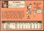 1969 Topps #638  Ed Sprague  Back Thumbnail