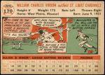 1956 Topps #170 WHT Bill Virdon  Back Thumbnail