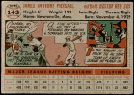 1956 Topps #143 GRY Jimmy Piersall  Back Thumbnail