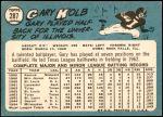 1965 Topps #287  Gary Kolb  Back Thumbnail
