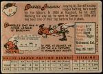 1958 Topps #61 WN Darrell Johnson  Back Thumbnail