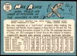 1965 Topps #185  Max Alvis  Back Thumbnail