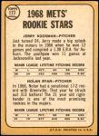 1968 Topps #177 A  -  Nolan Ryan / Jerry Koosman Mets Rookies Back Thumbnail