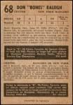 1953 Parkhurst #68  Don Raleigh  Back Thumbnail