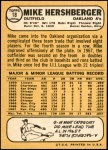 1968 Topps #18 A Mike Hershberger  Back Thumbnail