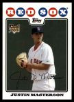 2008 Topps Update #20  Justin Masterson  Front Thumbnail