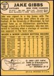 1968 Topps Milton Bradley #89 MB Jake Gibbs  Back Thumbnail