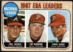 1968 Topps #7 A  -  Jim Bunning / Phil Niekro / Chris Short NL ERA Leaders Front Thumbnail