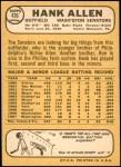 1968 Topps #426  Hank Allen  Back Thumbnail