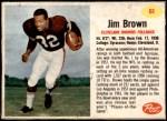 1962 Post Cereal #61  Jim Brown  Front Thumbnail
