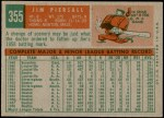 1959 Topps #355  Jimmy Piersall  Back Thumbnail