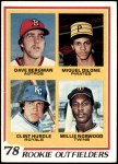 1978 Topps #705   -  Dave Bergman / Miguel Dilone / Clint Hurdle / Willie Norwood Rookie Outfielders   Front Thumbnail