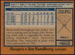 1978 Topps #492  Jim Sundberg  Back Thumbnail