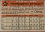 1958 Topps #494   -  Warren Spahn All-Star Back Thumbnail