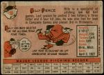 1958 Topps #50 WT Bill Pierce  Back Thumbnail