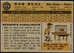 1960 Topps #374  Bob Buhl  Back Thumbnail