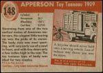 1954 Topps World on Wheels #148   Apperson Toy Tonneau 1909 Back Thumbnail