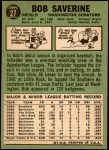 1967 Topps #27  Bob Saverine  Back Thumbnail
