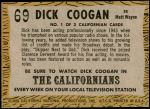 1958 Topps TV Westerns #69   Dick Coogan  Back Thumbnail