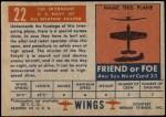 1952 Topps Wings #22   F3D Skynight Back Thumbnail