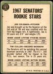 1967 Topps #167   -  Joe Coleman / Tim Cullen Senators Rookies Back Thumbnail