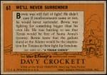 1956 Topps Davy Crockett Orange Back #61   We'll Never Surrender  Back Thumbnail