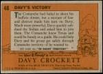 1956 Topps Davy Crockett Orange Back #48   Davy's Victory  Back Thumbnail