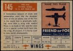 1952 Topps Wings #145   YRB-49A Flying Wing Back Thumbnail