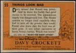 1956 Topps Davy Crockett Orange Back #55   Things Look Bad  Back Thumbnail