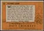1956 Topps Davy Crockett Orange Back #12   Flying Lead  Back Thumbnail