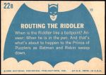 1966 Topps Batman Blue Bat Back #22   Routing the Riddler Back Thumbnail