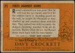 1956 Topps Davy Crockett Orange Back #71   Fists Against Guns  Back Thumbnail