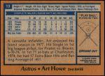 1978 Topps #13  Art Howe  Back Thumbnail