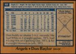 1978 Topps #48  Don Baylor  Back Thumbnail