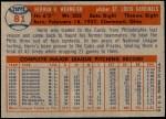 1957 Topps #81  Herm Wehmeier  Back Thumbnail
