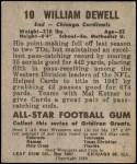 1949 Leaf #10  Billy Dewell  Back Thumbnail