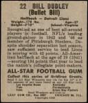 1949 Leaf #22  Bill Dudley  Back Thumbnail