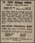 1949 Leaf #74  Tony Minisi  Back Thumbnail