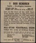 1949 Leaf #1  Bob Hendren  Back Thumbnail